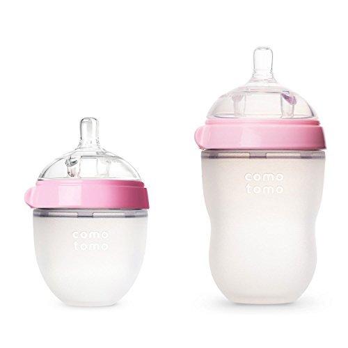 - Comotomo Natural Feel Baby Bottles Set, 5oz Slow Flow and 8oz Medium Flow, Pink