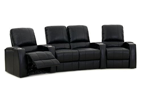 Storm XL850 Home Theater Chairs - Octane Seating - Black Top-Grain Leather - Power Recline - Storage Arms - Row of 4 Seats with Middle Loveseat