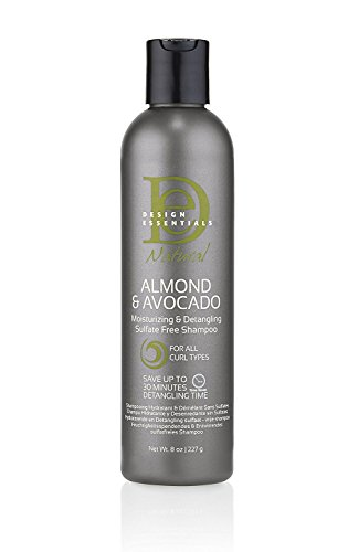 Design Essentials Natural Super Moisturizing & Detangling Sulfate- Free Shampoo- Almond & Avocado Collection 8oz.