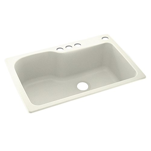 Swaoi|#Swanstone KS03322SB.018-4 33-In X 22-In Solid Surface Kitchen Sink 4-Hole, Bisque, Bisque Swanstone Kitchen Sinks