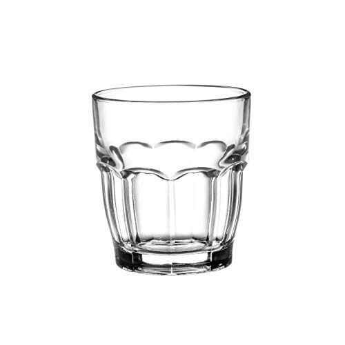 Bormioli Rocco Rock Bar Stackable Juice Glasses - Set Of 6 Dishwasher Safe Drinking Glasses For Soda, Juice, Milk, Coke, Beer, Spirits - 6.75oz Durable Tempered Glass Water Tumblers For Daily Use ()