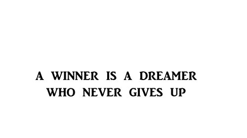 Winners Gym - A Winner is a Dreamer Who Never Gives UP - Decal | Gym, Office, Home, Home Gym, Motivational, Inspirational |8 In Decal | KCD237