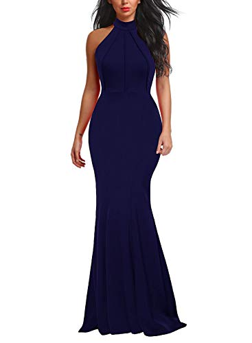 Berydress Women's Mermaid Dress Floor-Length Wedding Bridesmaid Halter Evening Dress (L, 6075-Navy)