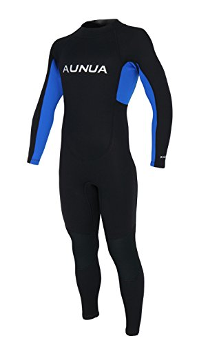 Aunua Youth 3/2mm Neoprene Wetsuits for Kids Full Wetsuit Swimming Suit Keep Warm(7031 BlackBlue ()