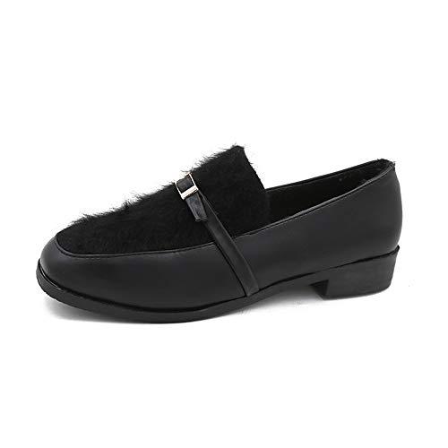 Mocasines Mao Mao Zapatos Solos Otoño E Invierno Colegio Viento Británico Cabeza Cuadrada Gruesa con Zapatos Pequeños De Fondo Plano: Amazon.es: Zapatos y ...