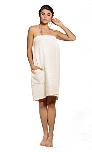 Turquaz Linen Lightweight Knee Length Spa/Bath Waffle Body Wrap with Adjustable Hook-and-Loop Tape (Large, Beige) - Loop Terry Shower Wrap