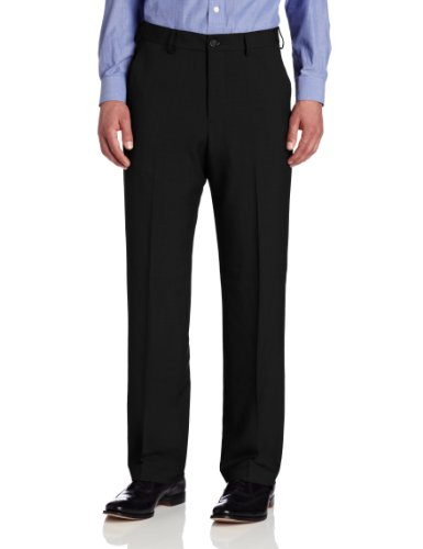 Van Heusen Men's Big & Tall Flat-Front Crosshatch Pant, Black, 44W x (Striped Pants Slacks)