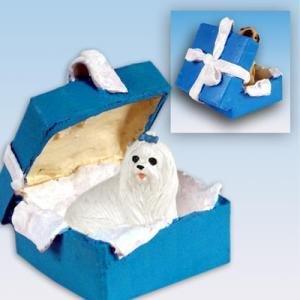 Conversation Concepts Maltese Gift Box Blue Ornament