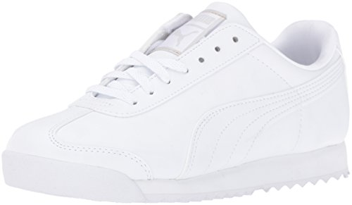 PUMA Roma Basic JR Sneaker (Little Kid/Big Kid) , White/Light Gray, 4.5 M US Big Kid