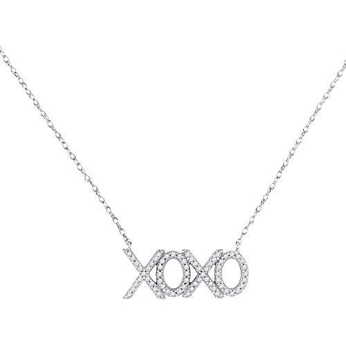 - Diamond XOXO Hugs Kisses Letter Pendant Necklace 1/5ct 10k White Gold