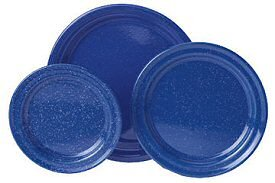 GSI Outdoors Stainless Steel Rim Blue Graniteware Salad Plate, 31522
