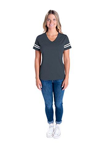 LAT Apparel Ladies Football Jersey V-Neck Tee [Large] Vintage Navy / White Short SleeveT-Shirt