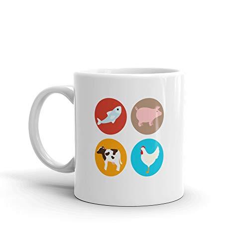 Set Amimals Butcher Products Mug 11 Oz Ceramic