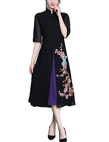 HÖTER Women's Qipao High Split Slim Dress Printed Long Sleeve Vintage Chinese Silk Cheongsam(S-3XL)