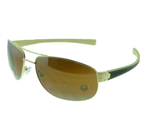 Tag Heuer LRS Sunglasses Gold Brown Ivory Frame Brown Out...