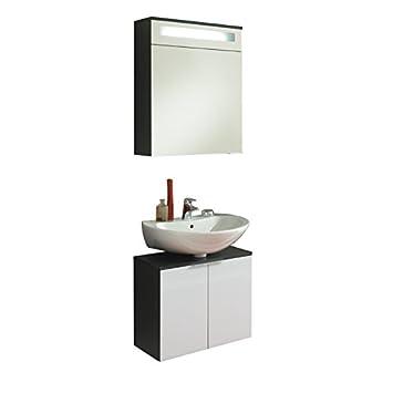 Badezimmer Waschplatz anthrazit weiß Badmöbel ...