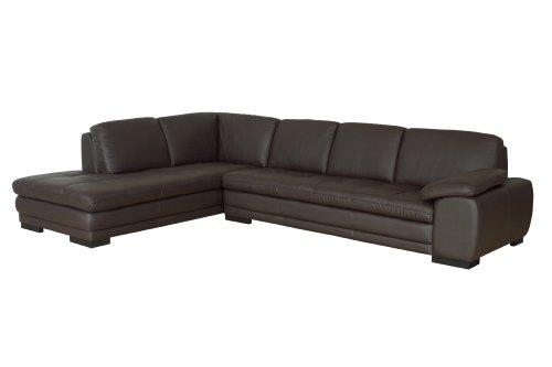 Baxton Studio Abriana 2-Piece Dark-Brown Leather Sofa Sectio
