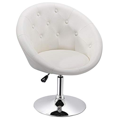 Round Back Swivel Stool - Yaheetech Adjustable Modern Round Tufted Back Chair Tilt Swivel Chair Vanity Chair Barstool Lounge Pub Bar,White