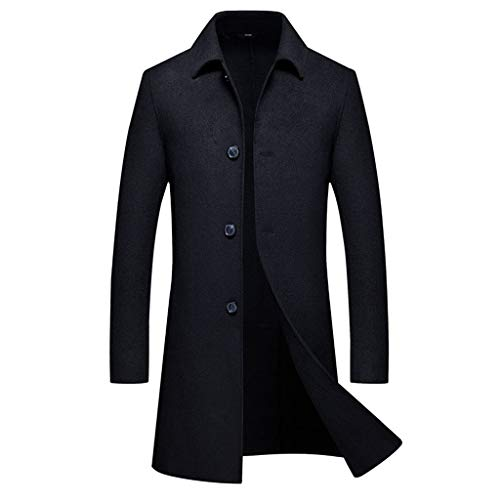 GREFER-Mens Trench Coats Solid Single Breasted Wool Blend Pea Coat Big and Tall Mens Winter Long Jacket Overcoat Black