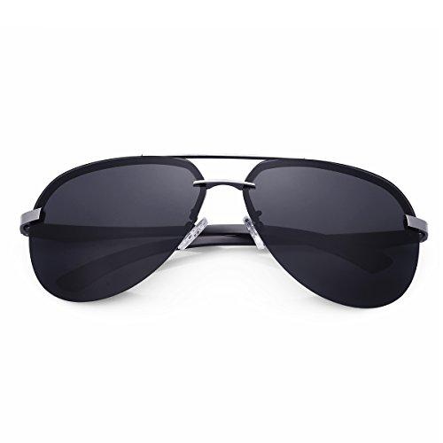 A143 Polarizadas Protección Gunmetal aviador Aviador caso de MPTECK 400 gafas Gafas de Plata UV clásico Plata pañuelo Sol Hombre polarizado y Negro sol con el estuche qHIH4XSw