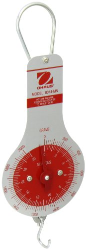 Ohaus 8014-MN Dial Type Spring Mechanical Scale, 2000g/20N Capacity, 20g/0.25N (Dial Type Spring Scale)
