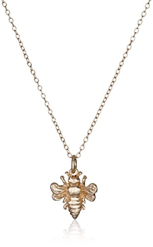 Rose Gold Plated Sterling Silver Bee Pendant Necklace, 18