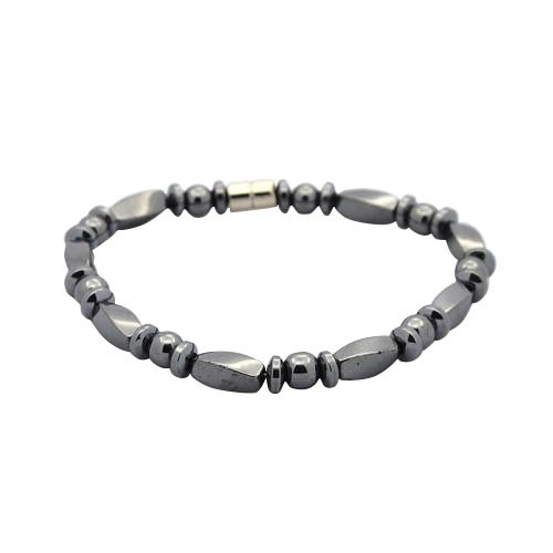 Pandahall 1 Strand Non-Elastic Magnetic Hematite Bracelets, Twisted Cuboid, Abacus and Round Beads, with Magnetic Clasps, ()