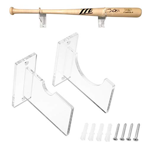 Hipiwe Clear Acrylic Baseball Bat Display Rack Holder - Horizontal Wall Mounted Baseball Bat Brackets Shelf Hanger Included Hardware,1 Pair