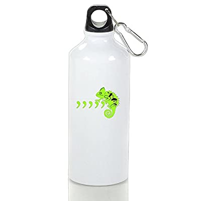 Drosp Comma Chameleon White Aluminum Sports Water Bottle, Great For Outdoor And Sport Activities Sealed Plastic Leak-proof Screw Top White