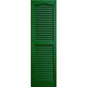 Builders Edge 15 in. Vinyl Louvered Shutters in Forest Green - Set of 2 (14.5 in. W x 1 in. D x 38.875 in. H (4.67 lbs.))