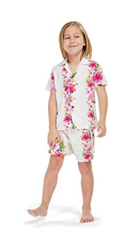 Hawaii Hangover Boy Aloha Luau Shirt Cabana Set in Pink Hibiscus Vine 8 Year Old ()