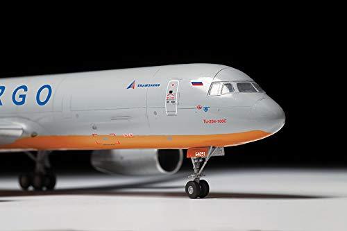 "ZVEZDA 7031 - Russian Cargo Airplane TU-204-100C - Plastic Model Kit Scale 1/144 139 Parts Lenght 14½"" / 36.9 cm 6"