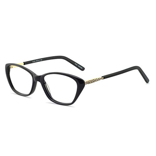 OCCI CHIARI Women Casual Non-Prescription Eyewear Frames Clear Lens Eyeglasses 50-17-140(Black) ()