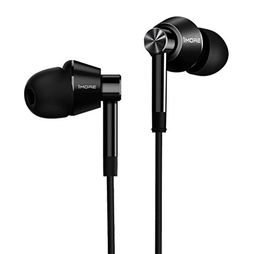- 1MORE Dual Driver In-Ear Earphones Hi-Res Comfortable Headphones with Tangle-Free Cable, Noise Isolation, High Resolution, Dual In-Line Control for iPhone/Android/PC/Tablet - Black