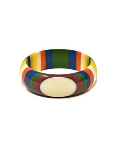 Sidecca 1970's Vintage Inspired Multi Color Stripe Medium Resin Bangle Bracelet (Multi, Stripe)