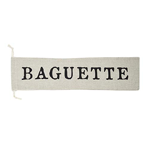 - SB Design Studio F2847 Table Sugar Washable Linen Draw String Bread Bag, 26.5 x 6.5-Inches, Baguette