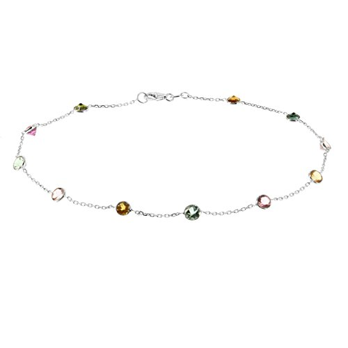 White Gold Pink Tourmaline Bracelet - 14k White Gold Handmade Station Anklet With Tourmaline Gemstones 9-11 Inches