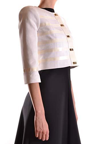 Femme Elisabetta Franchi Blanc Mcbi30087 Veste Coton BA6qTnU