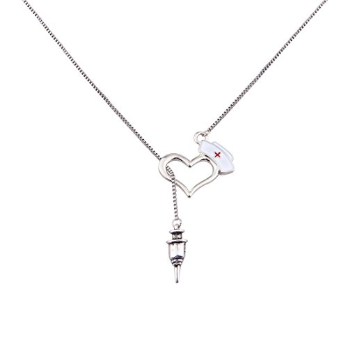 Open Heart Lariat Necklace - KUIYAI Medical Jewelry Syringe Open Heart Nurse Hat Lariat Y Necklace Gift for Nurse Doctor (Nurse hat syringe)