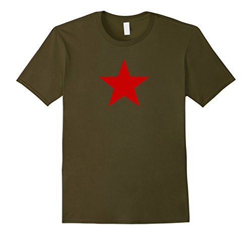 Mens Vintage Soviet Union CCCP USSR Red Star Tee Medium Olive (Soviet Star Ussr T-shirt)
