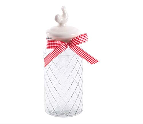 (Item Recorded Glass Canister with Ceramic White Rooster Top, 10.6