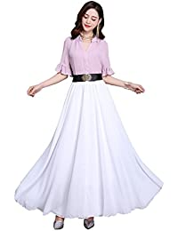 Women Summer Chiffon High Waist Pleated Big Hem Full/Ankle Length Beach Maxi Skirt