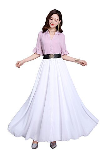 Women Summer Chiffon High Waist Pleated Big Hem