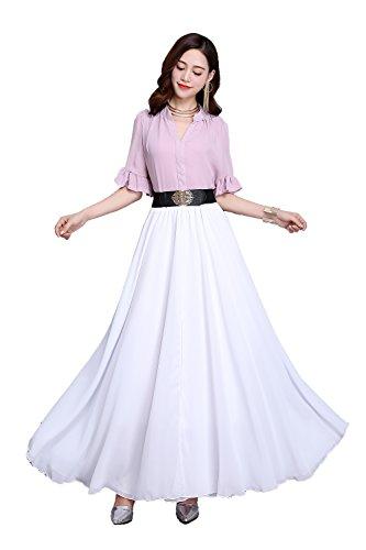 Women Summer Chiffon High Waist Pleated Big Hem Full/Ankle Length Beach Maxi Skirt(3XL /White)