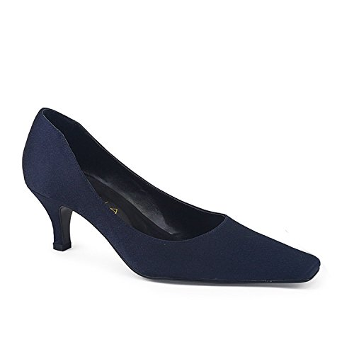 FARFALLA Satin Court Shoes (Navy,4/37)