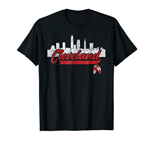 Cleveland Shirt Cleveland Skyline Native American Feather (Cleveland Indians T-shirt)