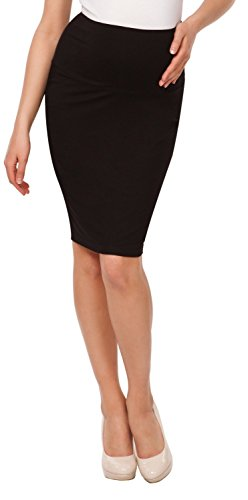 aternity Pencil Skirt Overbump Elastic Panel Pregnancy. 066p (Black, US 10, XL) (Maternity Stretch Skirt)