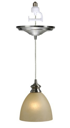 Worth Home Products Instant Screw In Pendant Light with Parchment Glass Shade (Lights Screw Pendant In)