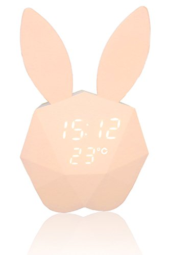 (Innerest Bunny Rabbit Alarm Music Clock Night Lamp Voice Control (One Size, Rabbit Pink))