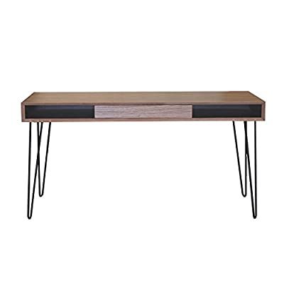 Proman Products Marcus Desk - Oak veneer desk top Metal leg for modern looking and durability Large desk top with drawer size of 20x13x2 - writing-desks, living-room-furniture, living-room - 31fC4c5WKuL. SS400  -